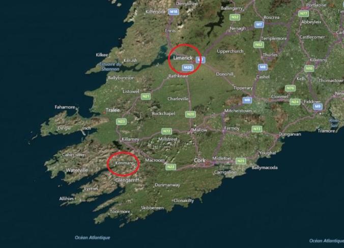 Emplacement de Limerick et Kenmore en Irlande. (Source : Bing Maps)