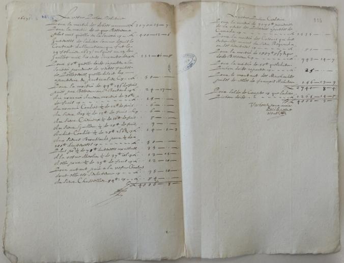 État de compte de la négociation pour la liquidation de la société Pichon-Bestreau. 19 juillet 1662. (Source : AD17. Fonds Amirauté de La Rochelle. Documents du greffe. B 5664, fol. 114 à 115r)