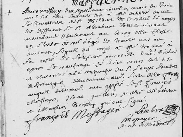 Acte de sépulture d'Abraham Pottier. 17 juin 1670. (Source : AD17. Nieul-sur-Mer. Baptêmes, mariages et sépultures. 1668-1672, vue 31/79)
