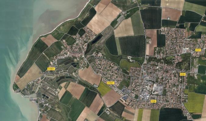 Emplacements de Lauzières, La Bourelle et Nieul-sur-Mer situés dans l'agglomération rochelaise. (Source : Google Map)