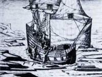 Navire dans les glaces (Théodore de Bry) (Source : http://histoiressingulieres.over-blog.com)