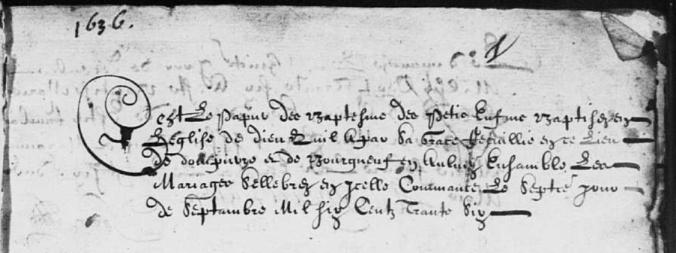 (Source : AD17. I 44. Dompierre-sur-Mer. Baptêmes. 1636-1667. 46 folios)