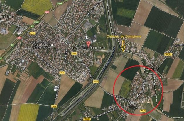 Vue aérienne de Dompierre-sur-Mer et le fief Monplaisir à Belle-Croix. (Source : Google Map)