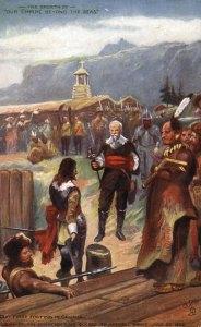 Samuel de Champlain livre la ville de Québec aux frères Kirke, au mois de juillet 1629. (Source : Prise de Québec par les frères Kirke. Place Royale d'aujourd'hui à hier : https://www.mcq.org/place-royale)