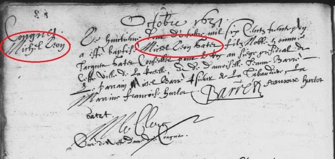 Acte de baptême de Michel-Léon Gatet (et non Michel Léon). 8 octobre 1631. (Source : AD17. Ms 253. La Rochelle. Paroisse Sainte-Marguerite. Baptêmes. 1620-1639, folio 83v)