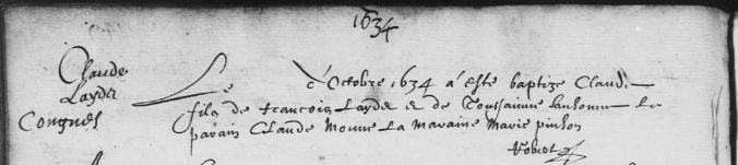 Acte de baptême de Claude Lendet (et non Claude Laydet). Octobre 1634. (Source : AD17. Ms 253. La Rochelle. Paroisse Sainte-Marguerite. Baptêmes. 1620-1639, folio 149v)