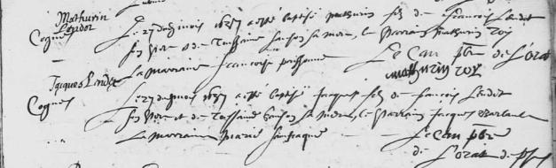 Actes de baptême des jumeaux Mathurin et Jacques Lendet (et non Laudet). 27 septembre 1637. (Source : AD17. Ms 253. La Rochelle. Paroisse Sainte-Marguerite. Baptêmes. 1620-1639, folio 217r)