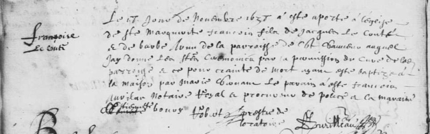Acte de baptême de François Leconte