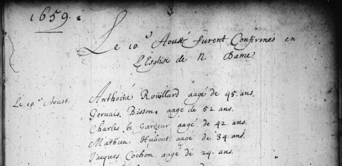 Extrait. Registre des confirmés. 10 août 1659. (Source : Fonds Drouin en ligne. Registre des confirmations. Archives de l'Archidiocèse de Québec. 1659-1725. p. 3)