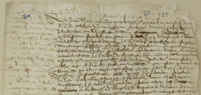 Extrait. Rapport de voyage du navire Le Louis pour la Nouvelle-France. 14 novembre 1633. (Source : AD17. Fonds de l'Amirauté de La Rochelle. Documents du greffe. B 5654, fol. 127, anciennement pièce 70)