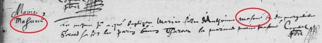 Acte de baptême de Marie Mazouer (et non Marie Masune). 13 août 1624. (Source : AD17. Ms 253. La Rochelle. Paroisse Sainte-Marguerite. Baptêmes. 1620-1639, folio 149v)
