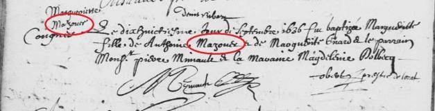 Acte de baptême de Marguerite Mazouer. 18 septembre 1636. (Source : AD17. Ms 253. La Rochelle. Paroisse Sainte-Marguerite. Baptêmes. 1620-1639, folio 195v)