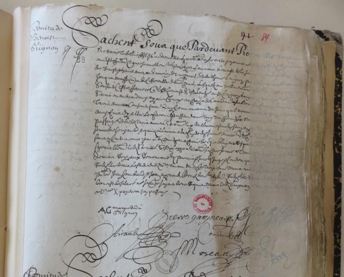 Contrat d'engagement de Laurent Benoît pour le Canada. 3 mars 1657. (Source : AD17. Notaire Pierre Moreau. Registre 3 E 59/261, fol. 89r)