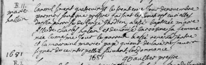 Acte de baptême de Marie Alain. 30 novembre 1680. (Source : Registre BMS de L'Ange-Gardien. Généalogie Québec. Vue d1p_31490723)