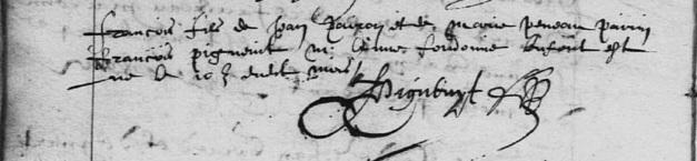 Acte de baptême de François Peron. 15 novembre 1615. (Source : AD17 en ligne. I 159 (I 23). La Rochelle. Collection du greffe. Pastoral. Baptêmes. Grand Temple. 1610-1622. Vue 81/169.