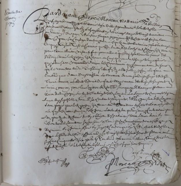 Contrat d'engagement de Jean Boutin pour Québec. 23 mars 1656. (Source : AD17. Notaire Pierre Moreau. Registre 3 E 59/260, fol. 88r)