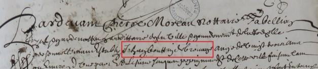 Engagement de Jean Boutin 1656