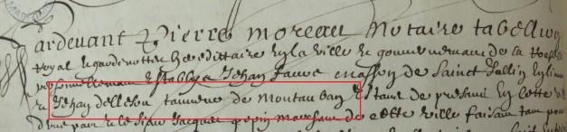 Engagement de Jean Delleson 1656