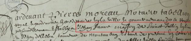 Engagement de Jean Faure 1656
