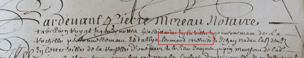 Engagement de Léonard Menier 1656