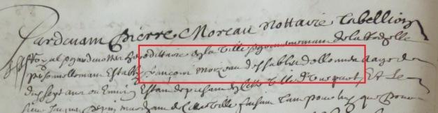 Engagement de François Moizeau 1656