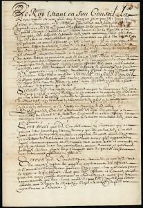 Extrait. Règlement de 1647 pour établir un bon ordre et police au Canada. 27 mars 1647. (Source : Bibliothèque et Archives Canada. MG18-H65, R11955-0-0-F)