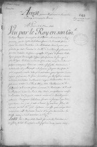 Extrait. Arrêt portant règlement en faveur des habitants de la Nouvelle-France. 5 mars 1648. (Source : Bibliothèque et Archives Canada. Série C11A/fol. 245-253v)