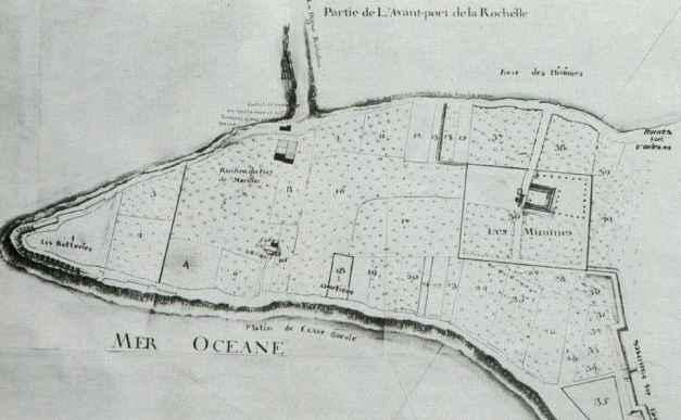 Le cimetière (18) et le couvent des Minimes (36). (Source : Les Minimes. Aujourd'hui, Hier, Autrefois, La Rochelle)