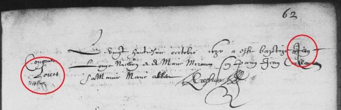 Acte de baptême de Jean Niellon (et non Louis Niellon). 28 octobre 1630. (Source : AD17. Ms 253. La Rochelle. Paroisse Sainte-Marguerite. Baptêmes. 1620-1639, folio 62r)