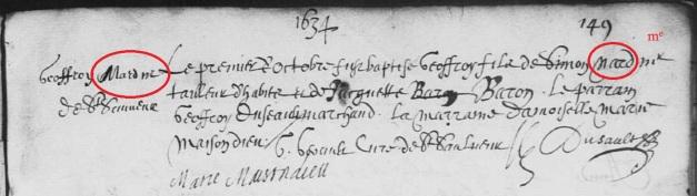 Le patronyme en marge est différent de celui inscrit dans le libellé de l'acte de baptême de Geoffroy Narp (ou Nard). 19 avril 1635. (Source : AD17. Ms 253. La Rochelle. Paroisse Sainte-Marguerite. Baptêmes. 1620-1639, folio 149r)