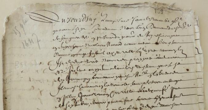 Extrait. Rapport de Nicolas Macard sur le voyage du navire L'Ange Gabriel à Québec. 15 novembre 1647. (Source : AD17. Fonds de l'Amirauté de La Rochelle. Documents du greffe. B 5658, fol. 109, 110 et 111r)