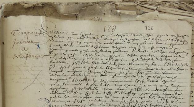 Extrait. Vente du navire L'Ange Gabriel. 22 avril 1648. (Source : AD17. Notaire Pierre Teuleron. Registre 3 E 1295, fol. 138r)