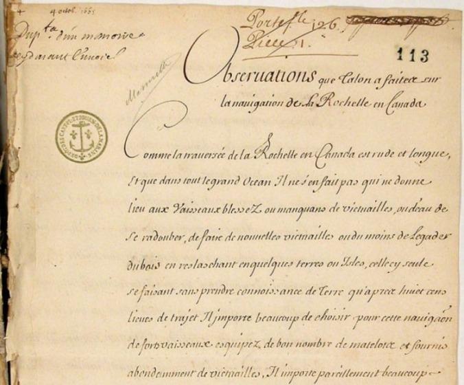 Extrait. Observations de Jean Talon au sujet de la navigation entre La Rochelle et le Canada. 3 octobre 1665. (Source : Archives nationales d'outre-mer (France). COL C11E 13/fol. 113-115)