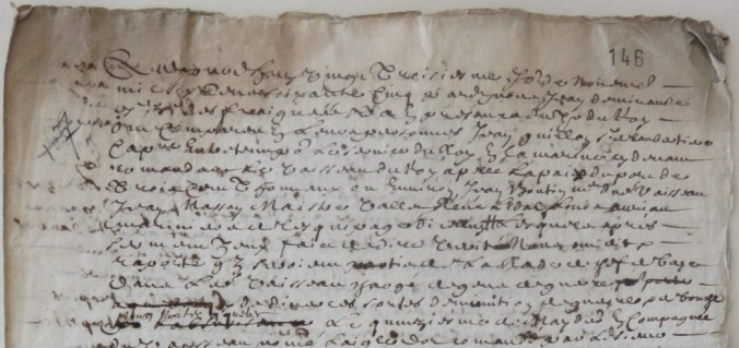 Extrait. Rapport de Jean Guillon sur le voyage de la flûte La Paix à Québec. 23 novembre 1665. (Source : AD17. Fonds de l'Amirauté de La Rochelle. Documents du greffe. B 5666, pièce 107 (fol. 146 et 147)