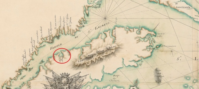 Extrait. Carte du golfe et fleuve Saint-Laurent. 16.. Localisation du naufrage de la flûte La Paix à Matane, le 26 septembre 1665. (Source : Bibliothèque nationale de France, département Cartes et plans, GE SH 18 PF 125 DIV 1 P 3)