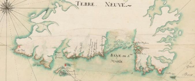 Extrait. Carte du golfe et fleuve Saint-Laurent. Du Grand Banc au Cap de Raye. (Source : Bibliothèque nationale de France, département Cartes et plans, GE SH 18 PF 125 DIV 1 P 3)