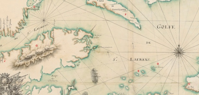 Extrait. Carte du golfe et fleuve Saint-Laurent. Du Cap de Raye à Matane. (Source : Bibliothèque nationale de France, département Cartes et plans, GE SH 18 PF 125 DIV 1 P 3)