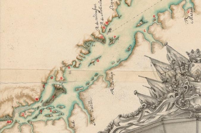 Extrait. Carte du golfe et fleuve Saint-Laurent. De Matane à Québec. (Source : Bibliothèque nationale de France, département Cartes et plans, GE SH 18 PF 125 DIV 1 P 3)