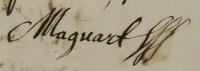 Signature de Nicolas Macquart. 15 novembre 1647. (Source : AD17. Fonds de l'Amirauté de La Rochelle. Documents du greffe. B 5658, fol. 109, 110 et 111r)