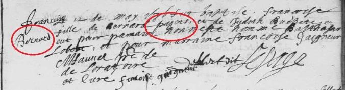Le patronyme en marge (prénom du père) est différent de celui inscrit dans le libellé de l'acte de baptême de Françoise Pagets. 12 mai 1636. (Source : AD17. Ms 253. La Rochelle. Paroisse Sainte-Marguerite. Baptêmes. 1620-1639, folio 189r)