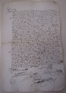 Contrat de charte-partie pour l'expédition du navire Le Taureau à Québec. 17 mai 1658. (Source : AD17. Notaire Abel Cherbonnier. Liasse 3 E 1128, pièce 121. 17 mai 1658)