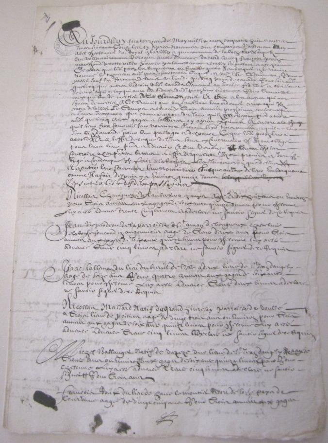Extrait. « Liste de ceux obligés pour Canada à Peron 1658 » (Source : AD17. Notaire Abel Cherbonnier. Liasse 3 E 1128, pièce 1).