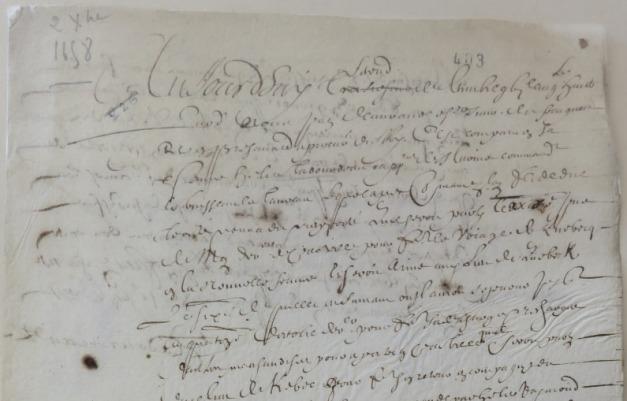 Extrait. Rapport d'Élie Tadourneau sur le voyage du navire Le Taureau à Québec. 2 décembre 1658. (Source : AD17. Fonds Amirauté de La Rochelle. Documents du greffe. B 5663, pièce 226. 2 décembre 1658)