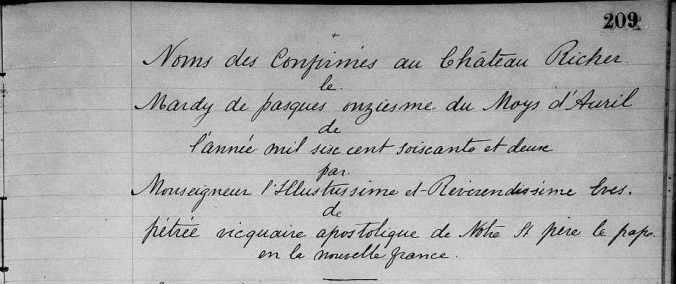 (Source : Family Search. Château-Richer. Baptêmes. Mariages. Sépultures. 1661-1690. p. 209-210)