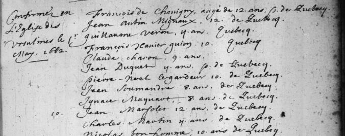 Extrait. Registre des confirmations. 1er mai 1662. (Source : Fonds Drouin en ligne. Registre des confirmations. Archives de l'Archidiocèse de Québec. 1659-1725. p. 21)