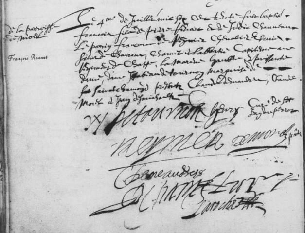 Acte de baptême de François Renart 1630