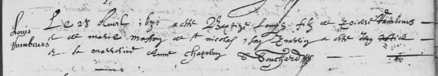 Acte de baptême de Louis Rambaut (et non Rambour). 28 avril 1631. (Source : AD17. Ms 253. La Rochelle. Paroisse Sainte-Marguerite. Baptêmes. 1620-1639, folio 76r)