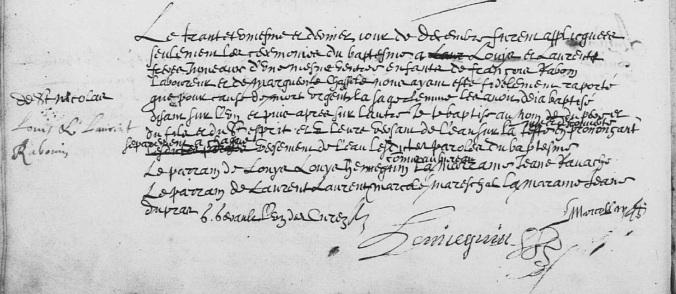 Acte de baptême de Louis et Laurent Rabouin 1633