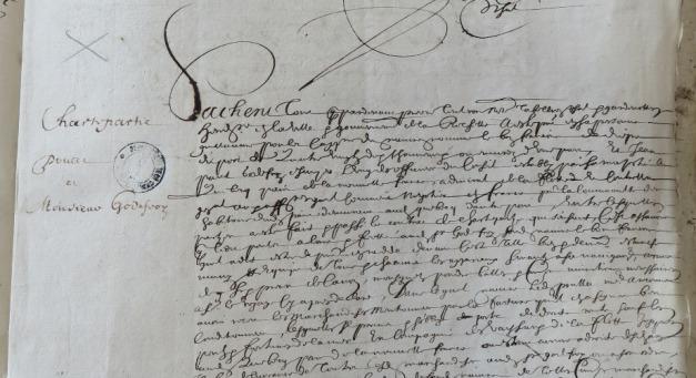 Extrait. Contrat de charte-partie pour l'expédition du navire Le Bon François à Québec. 28 mai 1649. (Source : AD17. Notaire Pierre Teuleron. Registre 3 E 1296, fol. 21r et 21v)