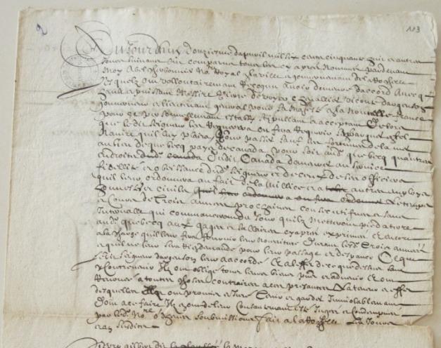 Extrait. «Acte de ceux qui sont obligés A Monsieur dargenson pour Canada 1658 ». 12 avril 1658. (Source : AD17. Notaire Abel Cherbonnier. Liasse 3 E 1128, fol. 113).